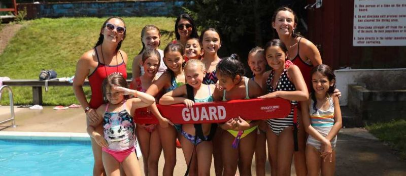 Lifeguards and Campers Posing for A Picture by the Pool