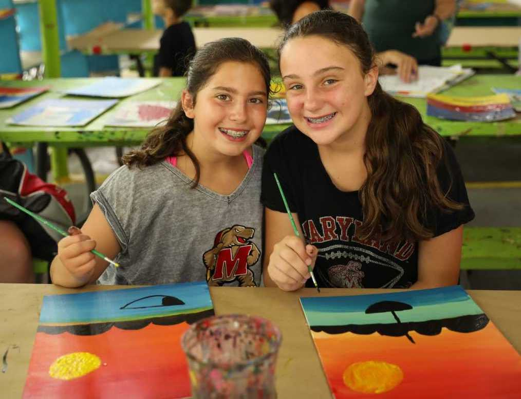 Two young girls painting pictures of the horizon.