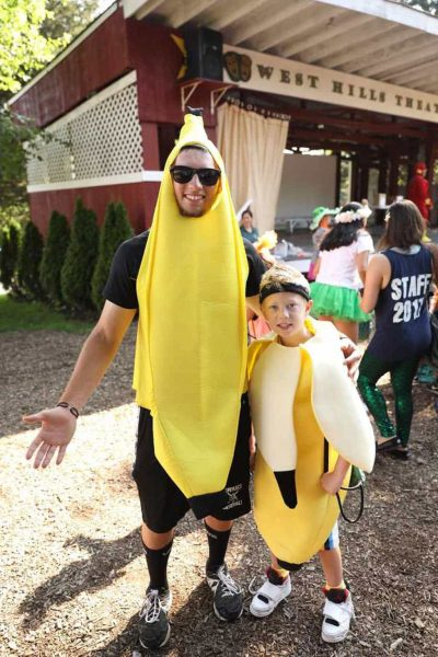West Hills Day Camp Camper and Counselor Dressed as Bananas