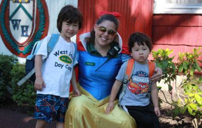 Counselor Dressed as Snow White and Two Preschool Campers