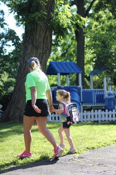 West Hills Counselor Walking with Child